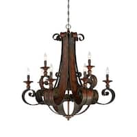 Craftmade 28029 Seville Two Tier 9 Light Candle Style Chandelier - 36 Inches Wide - spanish bronze
