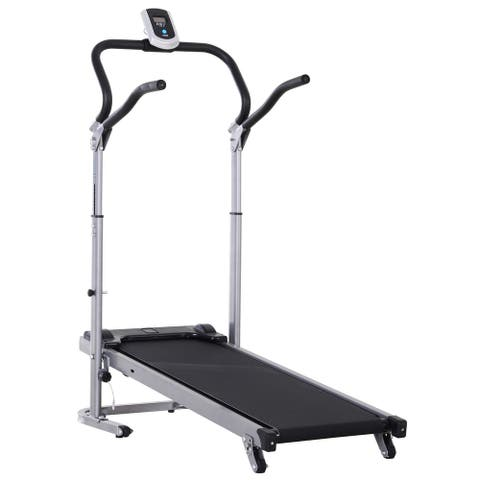 Soozier Folding Walking Incline Manual Treadmill Machine for Home Walking and Running with LCD Screen