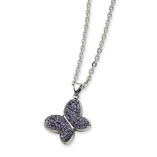 Chisel Stainless Steel Purple Crystal Buterfly Pendant 22 Inch Necklace (2 mm) - 22 in