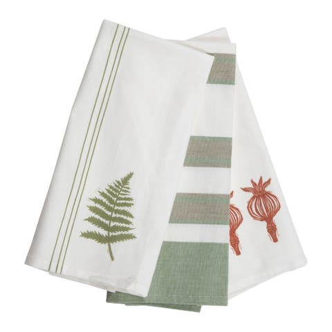 Foreside Home & Garden Set of 3 Botanical Design 27 x 18 Inch Woven Kitchen Tea Towels