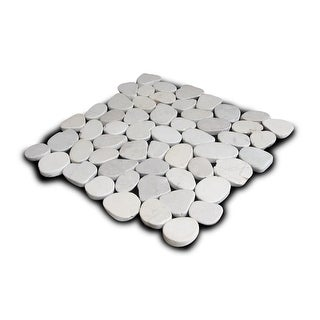 Miseno MT-S3PWH Flatten Pebble Natural Stone Mosaic Tile (10.12 SF / Carton) - White - N/A