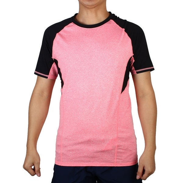 16696c8e Men Short Sleeve Apparel Stretchy Outdoor Training Sports T-shirt Pink S