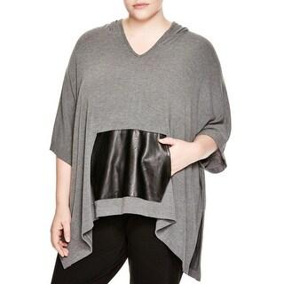 Karen Kane Womens Plus Kangaroo Pocket Poncho Top Faux-Leather Trim Pullover