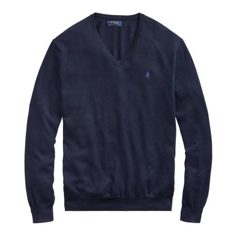 Polo Ralph Lauren Mens Pima Cotton V-Neck Knitted Sweater Small S Hunter Navy