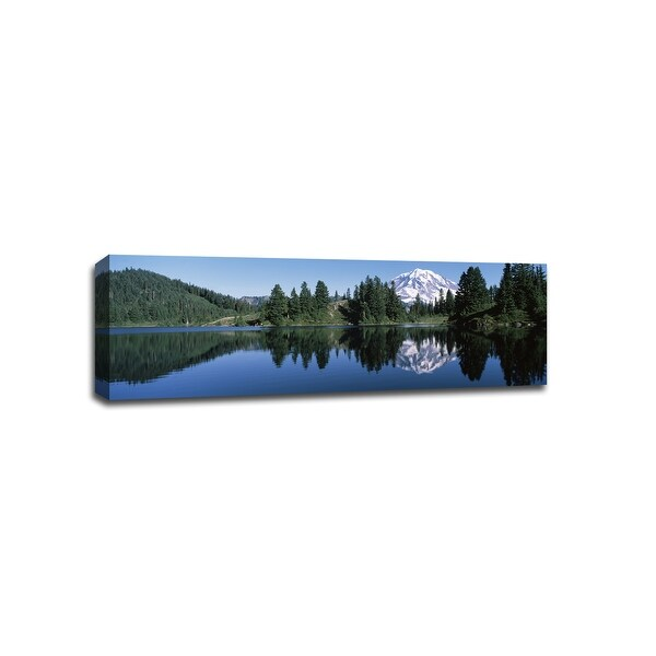 Reflection of Mt Rainier - Lakes - 48x16 Gallery Wrapped Canvas Wall Art
