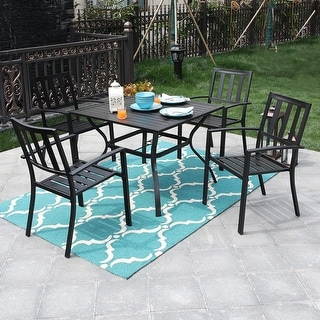 "Link to PHI VILLA 5 Piece Metal Outdoor Indoor 37"" Square Dining Table and Arm Chairs - Umbrella Hole 1.57"" - N/A Similar Items in Dining Room & Bar Furniture"