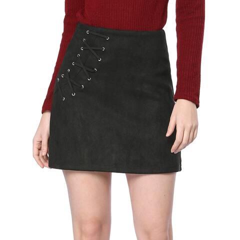 Unique Bargains Women Eyelet Lace-up Faux Suede A-line Mini Skirt