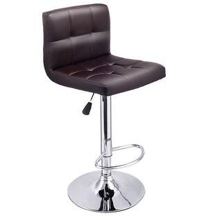 Genial Costway 1 PC Bar Stool Swivel Adjustable PU Leather Barstools Bistro Pub  Chair Brown