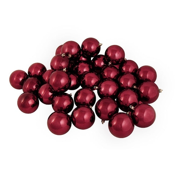 "12ct Shiny Burgundy Shatterproof Christmas Ball Ornaments 4"" (100mm)"