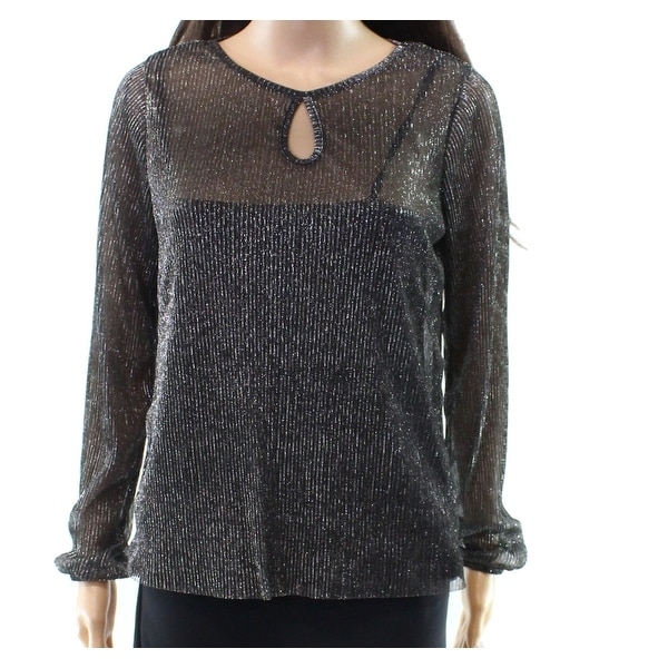 140097cfcfd58 Shop Freshman Silver Medium Junior Shimmer Keyhole Blouse - Free Shipping  On Orders Over  45 - Overstock.com - 27020817