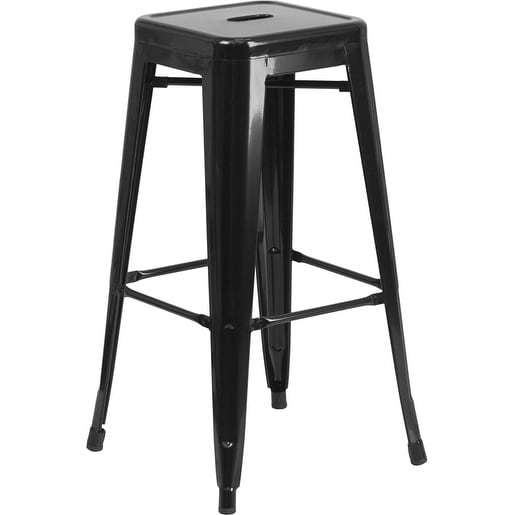 Collins 30'' High Backless Black Metal Indoor/Outdoor/Patio/Bar Barstool w/Square Seat