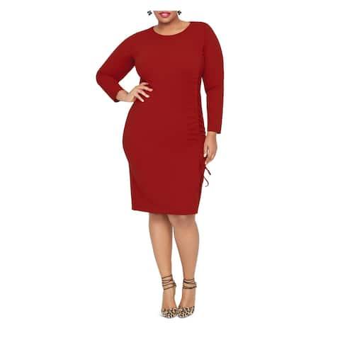 RACHEL ROY Womens Red Ruched Long Sleeve Jewel Neck Knee Length Sheath Wear To Work Dress Plus Size: 16W