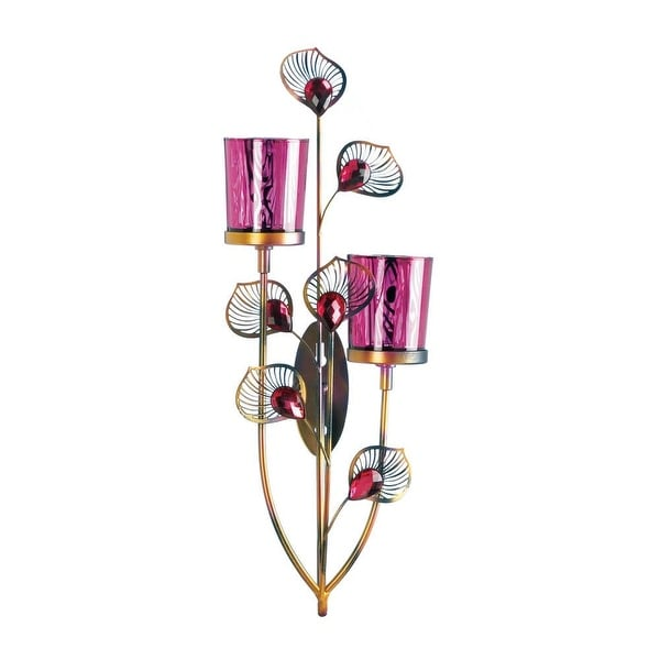 Retro Pink Peacock Wall Sconce