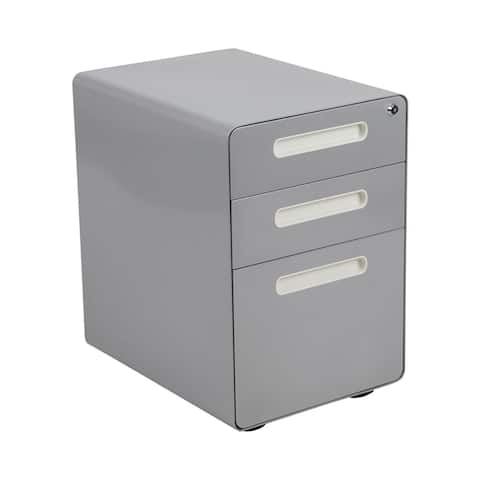 Offex Filing Cabinet with Hanging Drawer for Legal&Letter Files - Gray