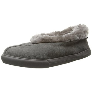 Skechers Womens Mad Crush Snuggle In Suede Faux Fur Slip-On Slippers