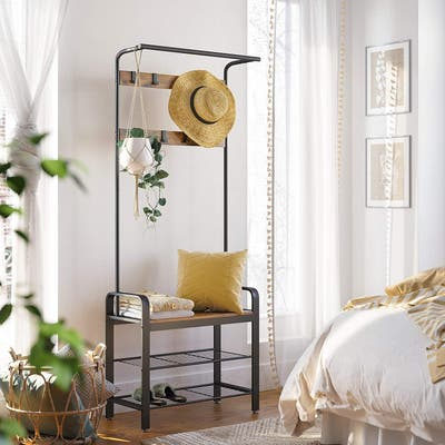 Coat Rack, Shoe Bench, Hall Tree with Storage Shelf for Entryway, Industrial Accent Furniture with Steel Frame, 3-in-1 Design