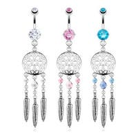 Dream Catcher Web with Crystal Bead Based Feathers Fancy Navel Belly Button Ring 316L Surgical Steel