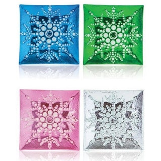 """Pack of 8 Blue, Green, Pink & Clear Square Snowflake Christmas Dinner Plates 13"""""""
