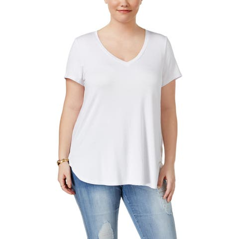 Celebrity Pink Womens Plus T-Shirt V-Neck Casual