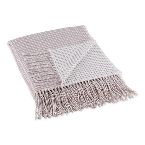 DII Black & White Waffle Knit Throw