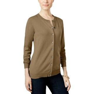 Karen Scott Womens Petites Cardigan Sweater Button Front Crew Neck - pm