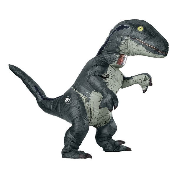 Shop Adult Jurassic World Inflatable Velociraptor Costume With Sound