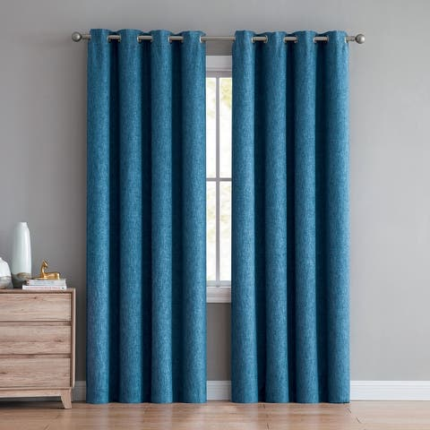 "Jeremy Textured Room Darkening Window Curtain Panel Pair 84"" or 96"""