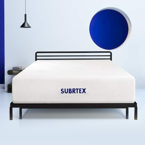 Subrtex 12 inch Gel-Infused Memory Foam Bed Mattress with Cover