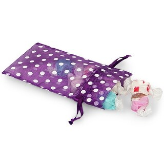 """Pack Of 10, 4 x 6"""" Purple Organza Bags W/White Polka Dots 100% Nylon For Soaps, Candles, Sachets, Jewelry, Cosmetics"""