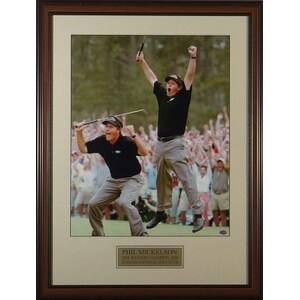 Phil Mickelson unsigned 2004 Masters Jump 2 pose 11X14 Custom Framed
