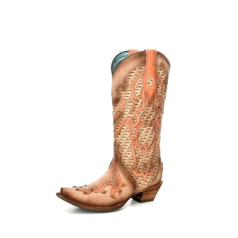 Corral Western Boots Womens Overlay Embroidery Snip Toe Bone