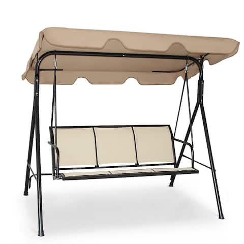 Costway Outdoor Patio Swing Canopy 3 Person Canopy Swing Chair Patio