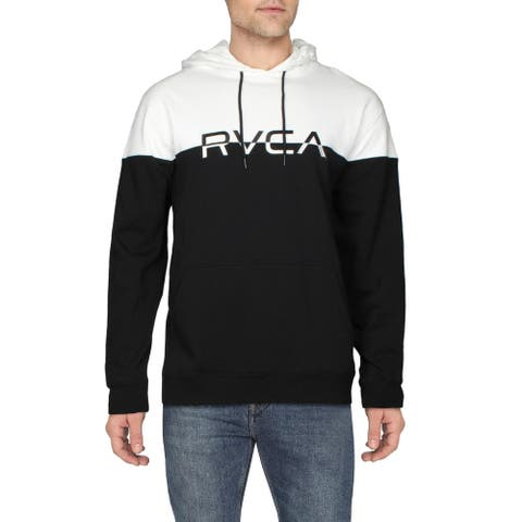 RVCA Mens Ace Hoodie Colorblock Logo - Black/White - XL