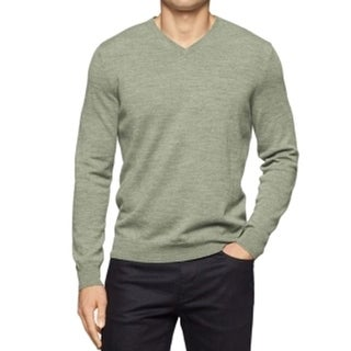 Calvin Klein NEW Pasture Heather Green Mens Size XL V-Neck Wool Sweater