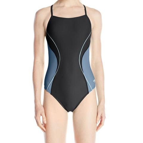 Speedo Black Womens 6/32 Colorblock Splice-Back One-Piece Swimsuit