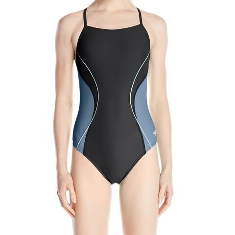 Speedo Women's Blue Black Size 6 One-Piece Colorblocked Cutout Swimwear