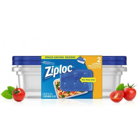 Ziploc 70941 Large Rectangle Containers & Lids w/One Press Seal, 9-Cup, 2-Ct