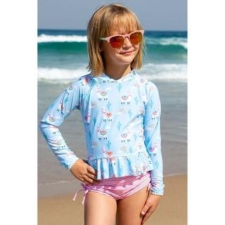 Sun Emporium Bahama Llama Long Sleeve Rash Guard Boyleg Set Little Girls