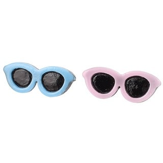 Unique Bargains Pet Hair Bows Clips Doggie Sunglasses Dog Accessories 2 Pcs Pink Blue