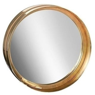 Set of 2 Paradise Found Large Round Antique-Style Brass Mirrors 11