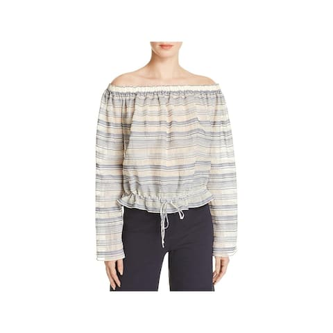 Theory Womens Odettah Pullover Top Sheer Off-The-Shoulder