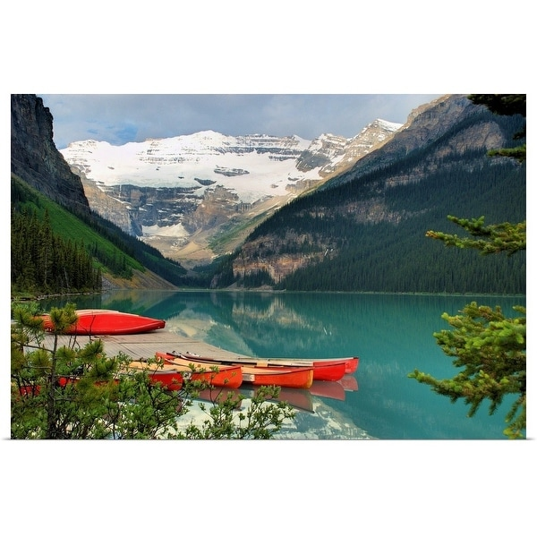 """Canoes on lake louise, Canada"" Poster Print"