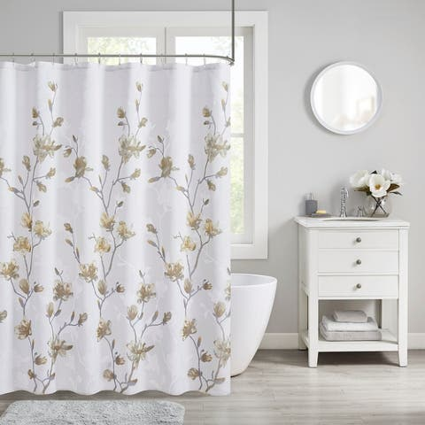 Madison Park Sylvan Floral Printed Burnout Shower Curtain