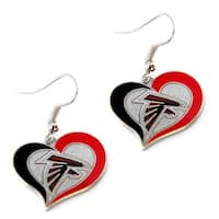 Atlanta Falcons Swirl Heart Earring NFL Dangle Logo Charm Gift