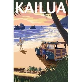 Kailua, Hawaii - Woody on Beach - Lantern Press Artwork (Playing Card Deck - 52 Card Poker Size with Jokers)