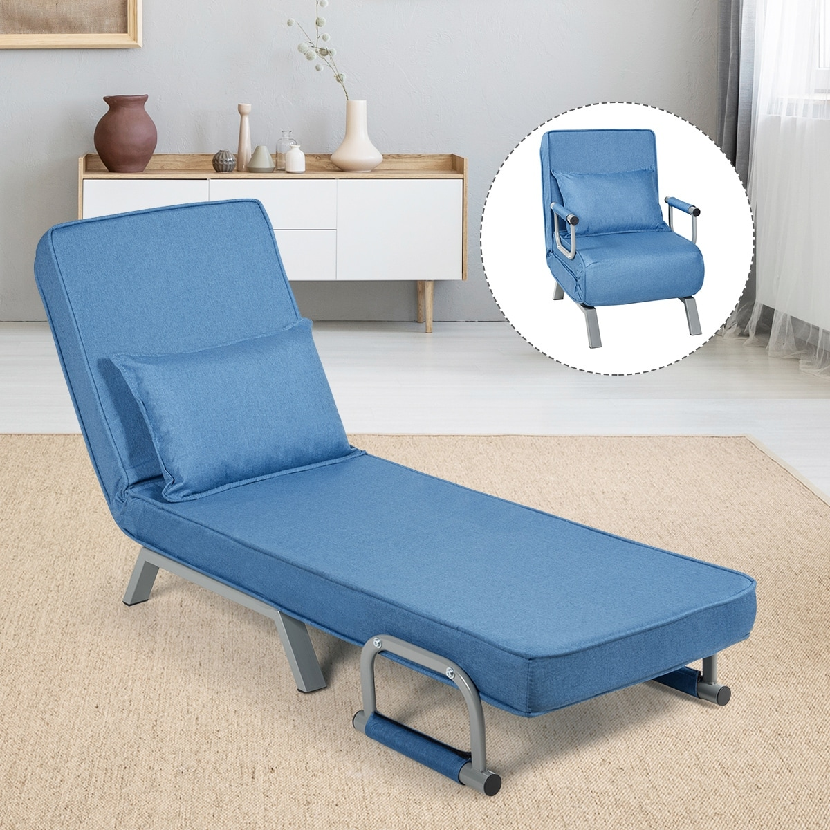 5 Position Recliner Adjustable Backrest Folding Armchair Sleeper with Pillow Leisure Chaise Lounge Couch for Home Office Single Padded Upholstered Seat icoXXch Convertible Sofa Bed Sleeper Chair