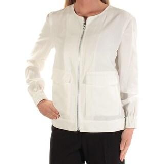 ANNE KLEIN $129 Womens New 1320 Ivory Zip Up Casual Jacket XS B+B