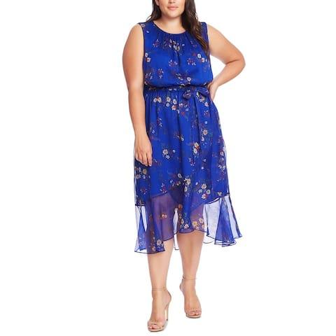 Vince Camuto Womens Plus Shift Dress Floral Midi