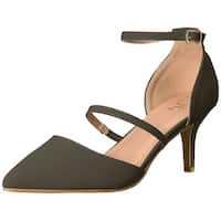 Brinley Co Womens chaney Pointed Toe Ankle Strap Classic Pumps
