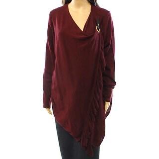 INC NEW Red Glazed Berry Women's Size Small S Ruffle Wrap Sweater